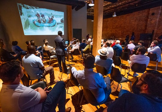 Downtown businesses and residents discuss the whitewater park plan and other projects during a town hall meeting in downtown Montgomery, Ala., on Tuesday September 10, 2019.