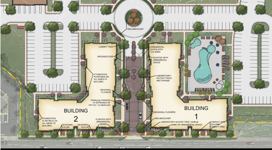This rendering shows preliminary plans for 308 apartments in Smyrna's historic downtown area on the east side of Lowry Street.
