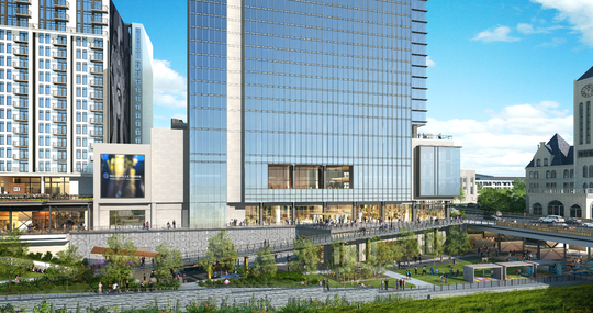 A ramp will connect the 1.3-acre public park at Nashville Yards to Broadway, facing the Grand Hyatt.