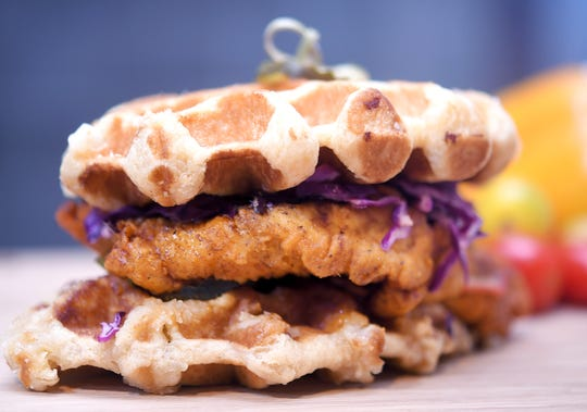 Pepperfire hot chicken waffle is part of the new food items for the 2019 season at Nissan Stadium on Sept. 11, 2019.