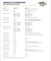 2019 Predators training camp schedule