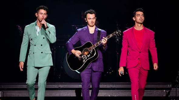 The Jonas Brothers perform at Bridgestone Arena in Nashville, Tenn., Tuesday, Sept. 10, 2019.
