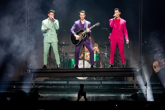 The Jonas Brothers perform at Bridgestone Arena in Nashville, Tenn., Tuesday, Sept. 10, 2019.
