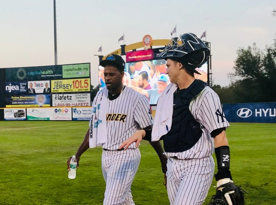 Luis Severino walks to the mound for a rehab start with the Trenton Thunder on Sept. 11, 2019.