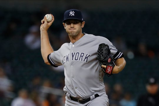 New York Yankees relief pitcher Cory Gearrin throws in the sixth inning of a baseball game against the Detroit Tigers in Detroit, Tuesday, Sept. 10, 2019.