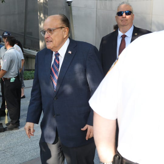 Former NY City Mayor Rudy Giuliani at the 911 Commemoration Ceremony honoring and remembering those who died. This took place at the 18th anniversary of the attacks on the World Trade Center, the Pentagon and Shanksville, Pa. Todays ceremonies took place in Manhattan, New York on September 11, 2019.