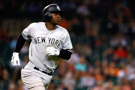 Sep 10, 2019; Detroit, MI, USA; New York Yankees shortstop Didi Gregorius (18) runs to first after he hits a home run in the seventh inning against the Detroit Tigers at Comerica Park. It was his second of the game.