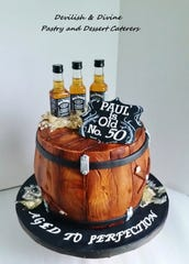 DeFelice likes to stray away from delicate cakes. This whiskey-themed birthday cake shows some of her more adult work.