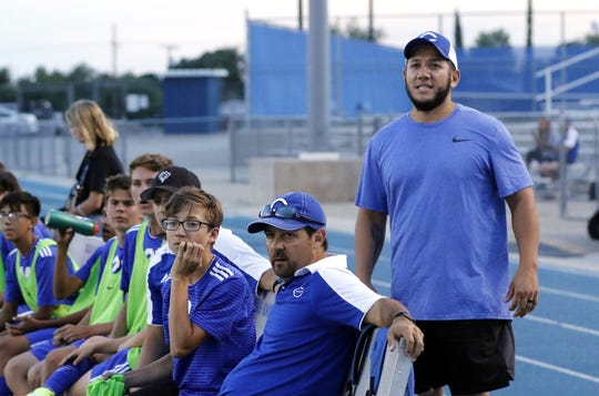 Aaron Guevarra watches Carlsbad play against Roswell in 2019. After four years of being an assistant in both boys and girls soccer, Guevarra has been named the new boys head coach for Cavemen soccer.