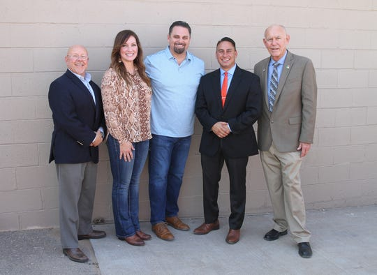 From left: District 33 Sen. William Burt, R-N.M. Jennifer Medlin, Medlin Ramps, Inc. CEO Mark Medlin, New Mexico Lt. Gov. Howie Morales, Alamogordo Mayor Richard Boss, Sept. 11, 2019.