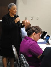 Dr. Andrea Barthwell answering questions from concerned residents on Sept. 10.