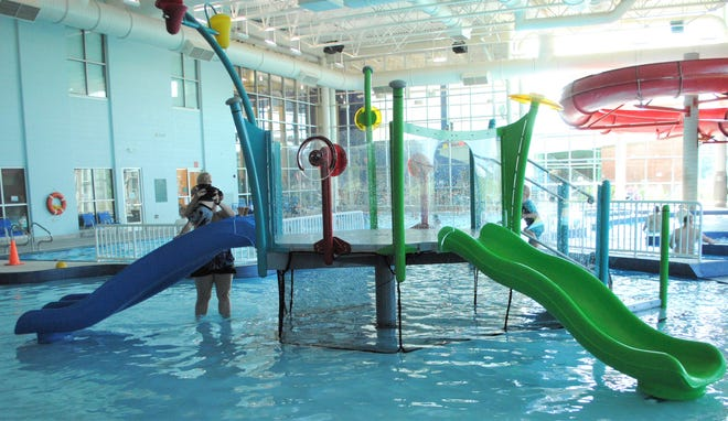 A water jungle gym part of the Kirksey Recreation Center's leisure pool.