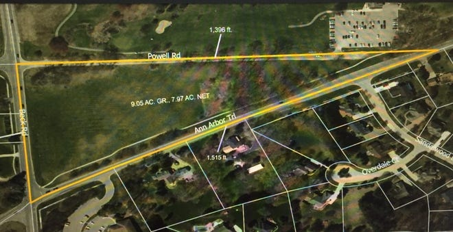 An overhead view of the property Plymouth Township Supervisor Kurt Heise has proposed be transformed into a passive park.