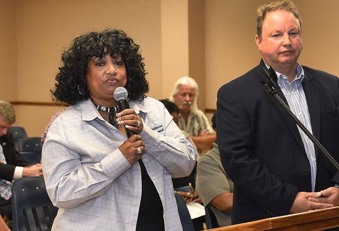 Opelousas City Code Enforcement Director Margaret Doucet discusses a proposed 48-unit apartment complex that was discussed at Tuesday night's Board of Aldermen meeting. At her right is Steve Brooks, chief financial officer of IDP Properties, which is hoping to develop the proposed site for the apartments.