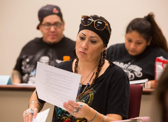 Sewa Contreras, a student of California Indian Nations College prepare to take a class at UC Riverside Palm Desert Campus on September 9, 2019.