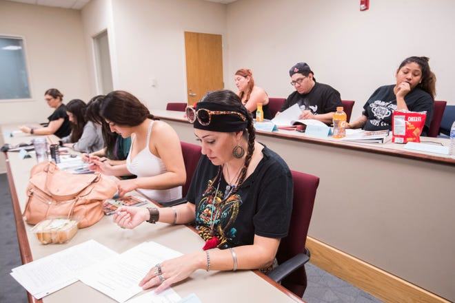 Sewa Contreras, a student of the California Indian Nations College, prepares to take a class at the UC Riverside Palm Desert campus on September 9, 2019.