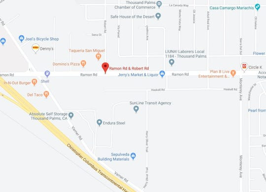 A person died in a traffic collision Tuesday night, Sept. 10, 2019, in Thousand Palms. At about 10:45 p.m., a vehicle collided with a big rig near Robert and Ramon roads.