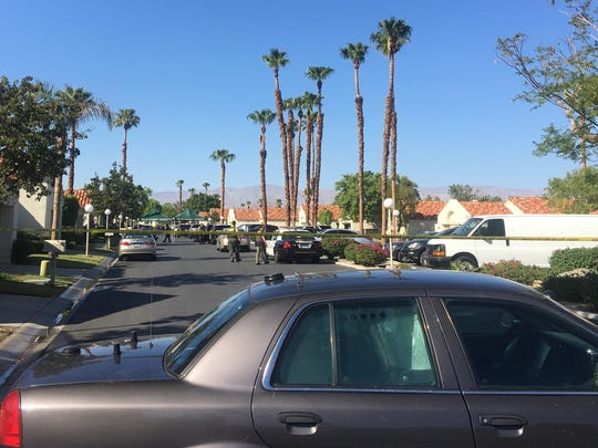 Deputies investigate outside a home on the 43-000 block of Calle Las Brisas in Palm Desert, where two people were shot dead on Wednesday, Sept. 11, 2019.