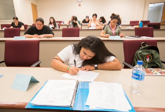 Students of California Indian Nations College prepare to take a class at UC Riverside Palm Desert Campus on September 9, 2019.