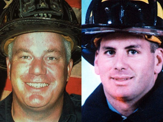 """Daniel """"Danny"""" Suhr, 37, left, and James """"Jimmy"""" Gray, 34, two former College of the Desert linebackers who joined the New York City Fire Department. Both first responders who arrived on scene at the World Trade Center, Sept. 11, 2001, they were each killed that day while working to save others."""
