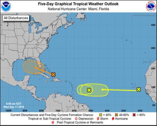 A five-day graphical tropical wather outlook shows the current trajectory of a disturbance over the Turks and Caicos Islands.