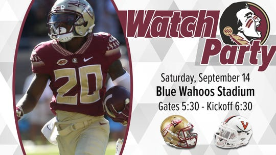 Blue Wahoos Stadium is hosting its first-ever watch party on Saturday night for the Florida State-Virginia football game.
