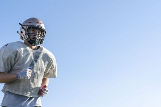 Campo Verde High School, running back, Connor Calloway during the practice at their school.