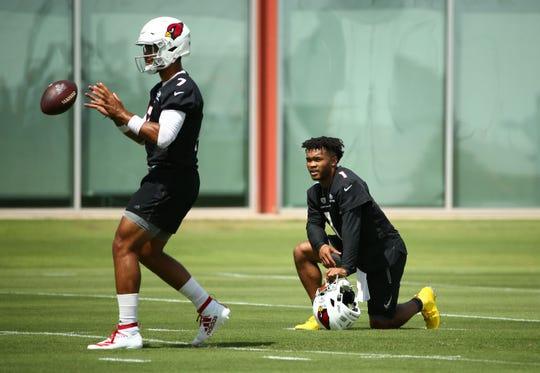 Arizona Cardinals quarterbacks Brett Hundley (7) and Kyler Murray (1) during practice on Sep. 11, 2019 in Tempe, Ariz.