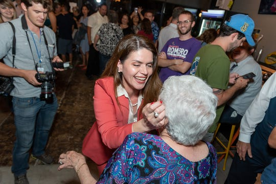 Tucson Councilwoman Regina Romero with her mom on election night.