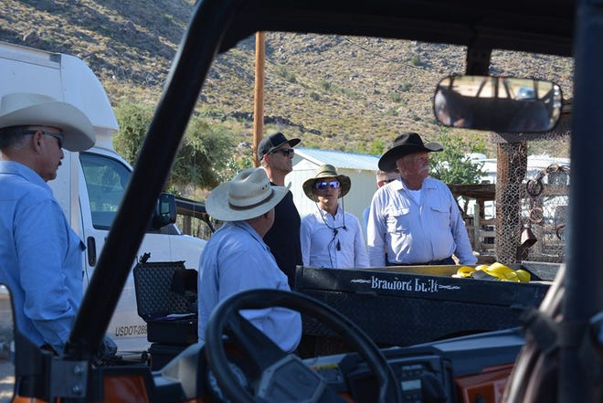 Near Kingman, Arizona, celebrities Gordon Ramsay, Gino D'Acampo and Fred Sirieix spend a day at the ranch for their upcoming television series.