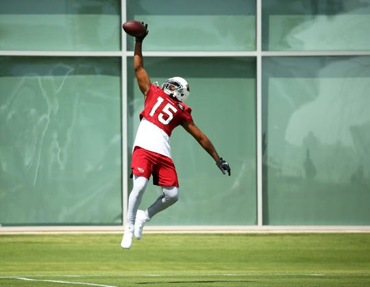Arizona Cardinals wide receiver Michael Crabtree (15) during practice on Sep. 11, 2019 in Tempe, Ariz.