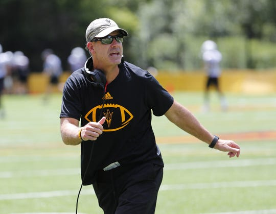 ASU offensive coordinator Rob Likens coaches his players during practice at Camp Tontozona August 7, 2019.