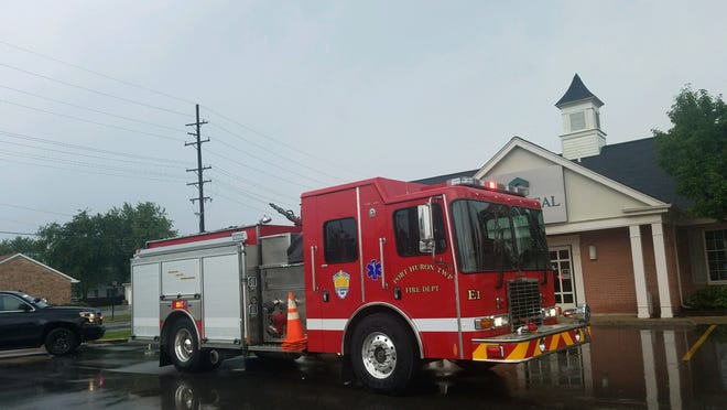 Port Huron Township firefighters responded to the call of a lightning strike in close proximity to the Chemical Bank on Lapeer Road on Wednesday, Sept. 11, 2019.