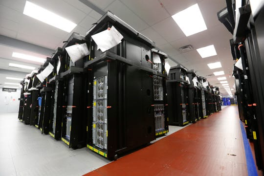 IBM Z15 servers on the production line at IBM's plant in Poughkeepsie on September 10, 2019.