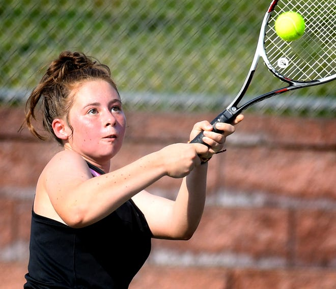 Red Lion's Sophie Lanius, above, has teamed with Lexi Lakatosh to reach the York-Adams League Class 3-A girls' tennis doubles semifinals.