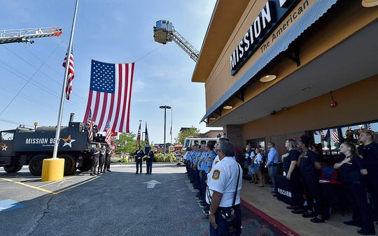 First responders gather at Mission BBQ on Loucks Road for a noon remembrance of the 9/11 attacks, Wednesday, September 11, 2019.John A. Pavoncello photo