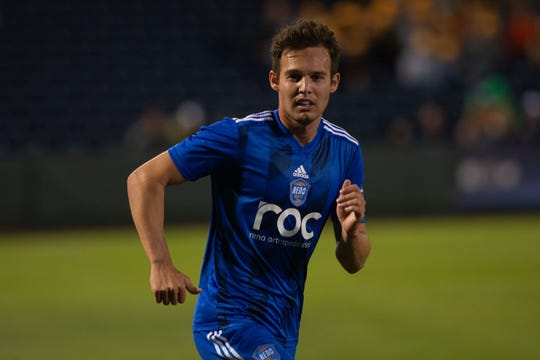 Danny Musovski scored four goals for   Reno 1868 FC vs. Tacoma Defenders at Greater Nevada Field in Reno on Tuesday, Sept. 10, 2019.