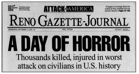 The front page of the Reno Gazette Journal on Sept. 12, 2001