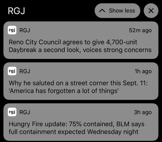 News alerts from the RGJ app