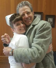 Susan Aser of Penfield and Jeff Goldblum on the set of The Mountain.