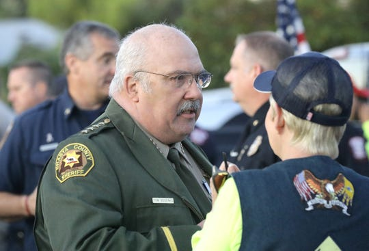 Shasta County Sheriff Tom Bosenko attends the 2019 Patriot Day Sunrise Ceremony beneath the giant U.S. flag on North Bechelli Lane on Sept. 11, 2019.