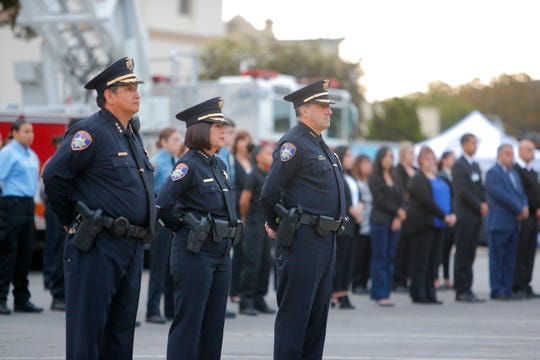 (From left:) Salinas police Assistant Chief Manny Martinez, Chief Adele Fresé and Assistant Chief Roberto Filice paid tribute Sept. 11, 2019, to victims of the terrorist attacks 18 years ago.