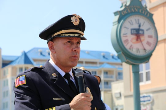 Ocean City Police Department Chief Ross Buzzuro speaks to a crowd during the 9/11 Parade of Brothers ceremony. The ceremony honors those who were affected by the attacks on Sept. 11, 2001.