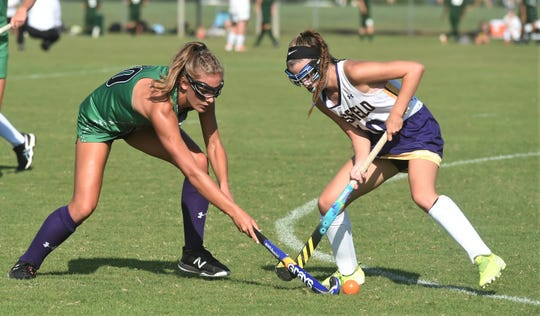 Parkside's Cassidy Cashman and Crisfield's Noel Atkins battle for the ball on Tuesday, Sept. 10, 2019.