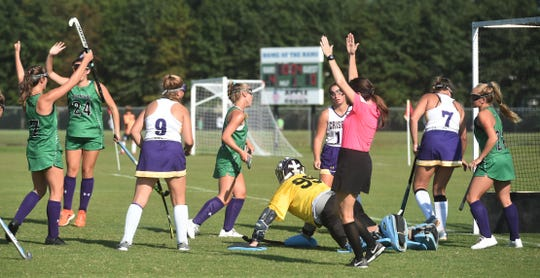 Parkside players celebrate after scoring a goal against Crisfield on Tuesday, Sept. 10, 2019.