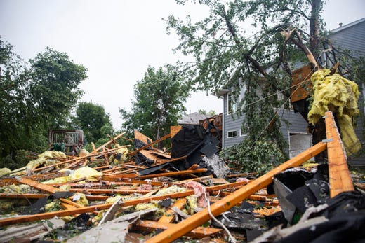 Backyards near Audie Drive show damage after a devastating tornado hit Sioux Falls on Tuesday, Sept. 11, 2019.