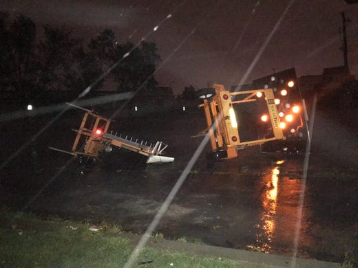 Storm damage in southern Sioux Falls on Tuesday night.