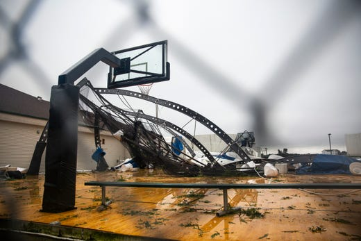 The Avera dome shows damage after a devastating tornado hit, Tuesday, Sept. 10, 2019.