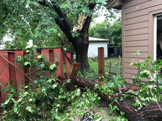Damage to Barbara Christen's home in south-central Sioux Falls.