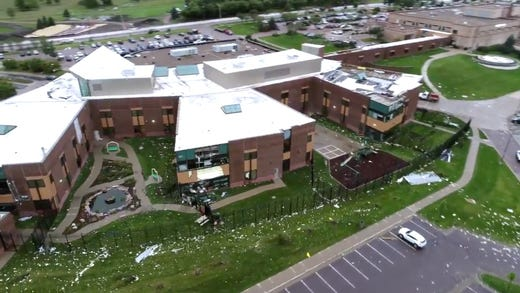Frame grabs from drone video by the city of Sioux Falls shows damage done to an Avera Heart Hospital on Wednesday; September 11; 2019.